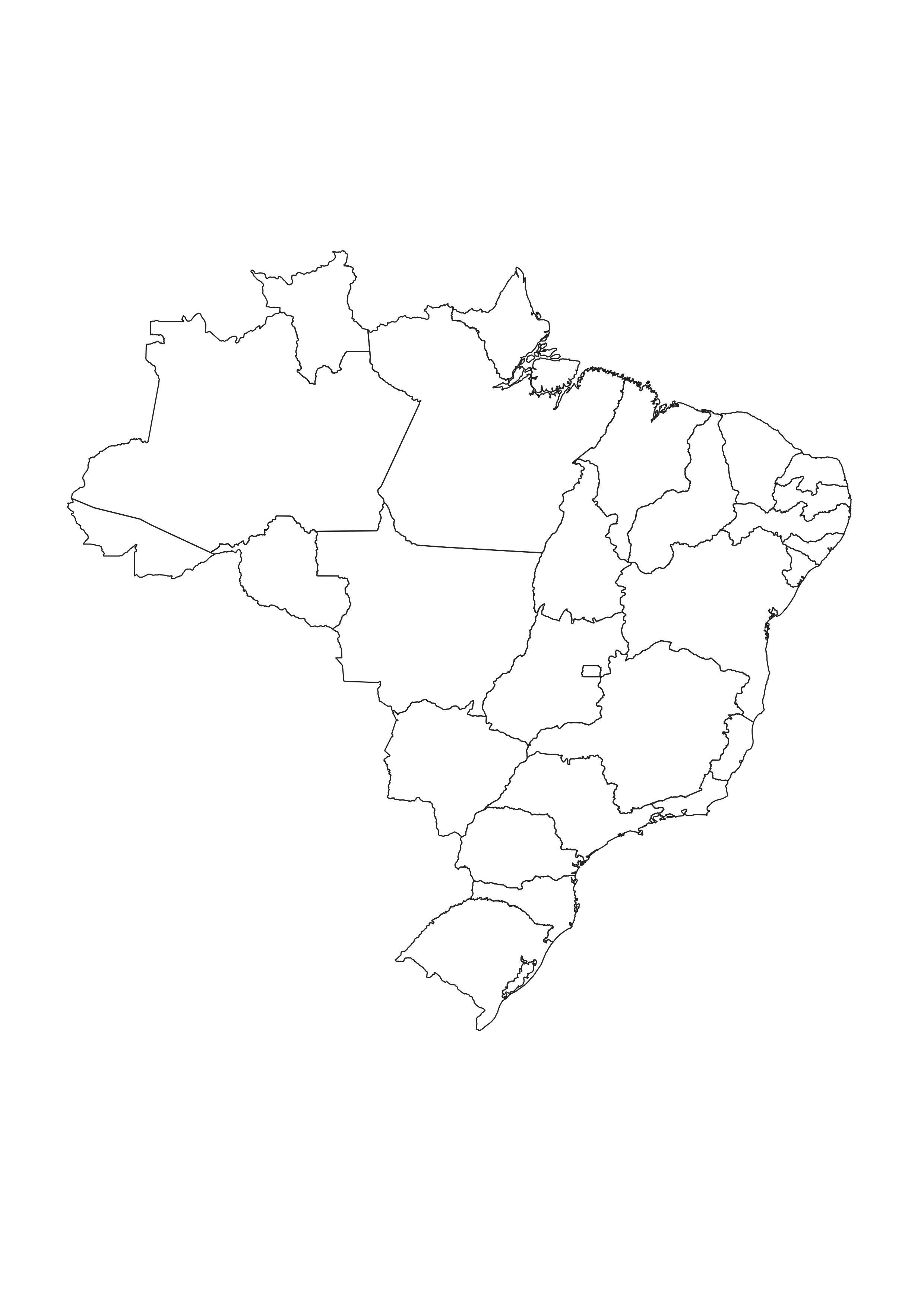 Mapa Dos Estados Brasileiros Em Preto E Branco Para Colorir